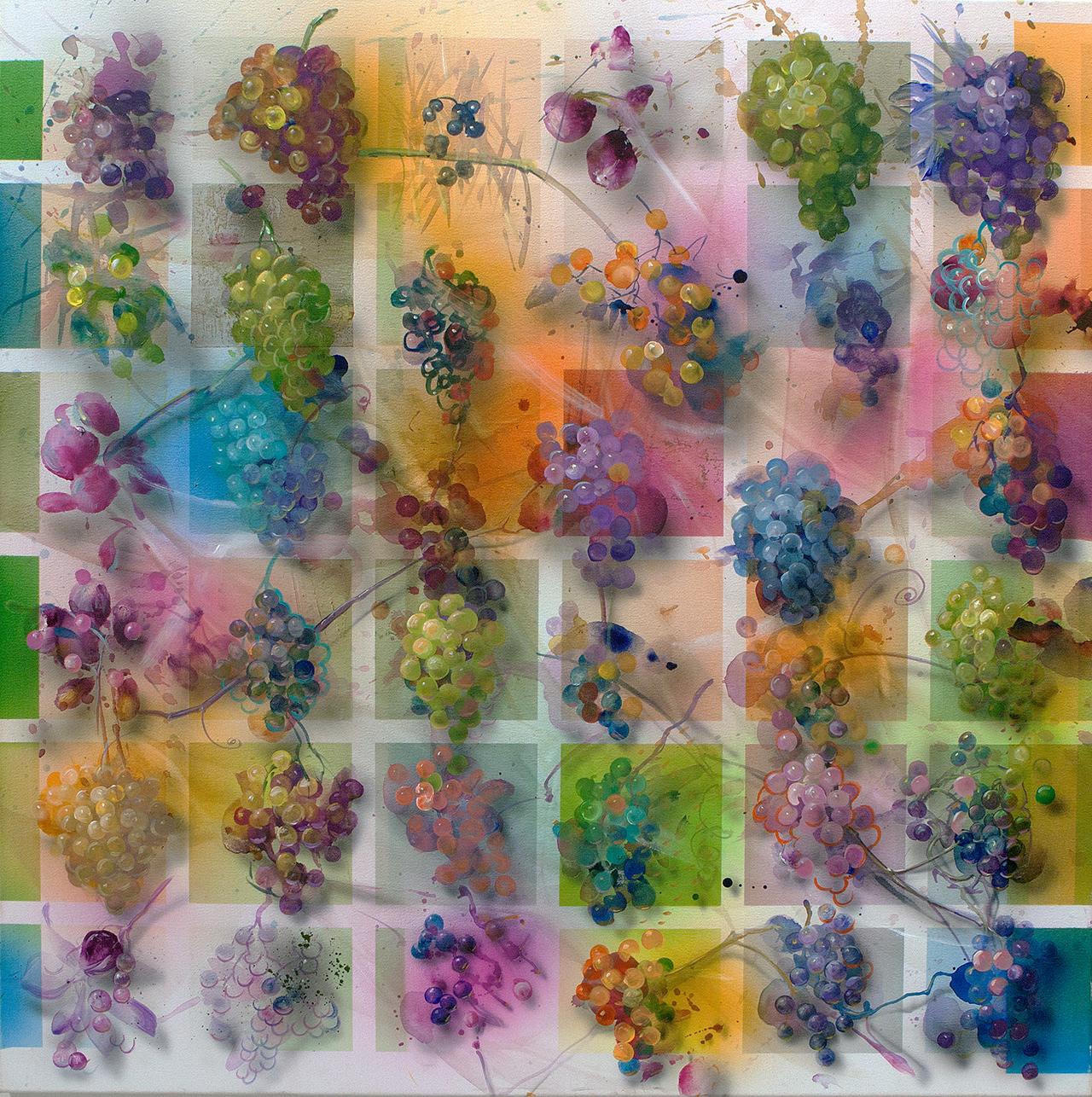 Trauben Detail , Acryl 120 cm x 120 cm 2015